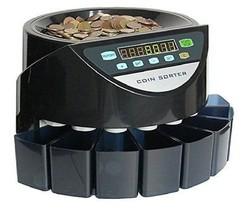 Black Professional Coin Counter Sorter Machine divide Euro 8 cuts