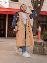 Gadget'lar Boydan Düğmeli Kot Detaylı Trenç Maxi erkek Uzun Kol Dış Giyim Sokak Stili Müslüman Modası Tesettür Kaftan Türkiye