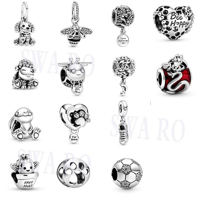 2020 New Silver 925,1: 1 Poodle Puppy, Disne Mulan Mushu, Sparkling Queen Bee Pendant Original Woman DIY Jewelry Birthday Gift