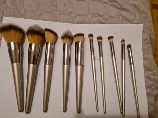 Champagne Color Makeup Brushes Set photo review