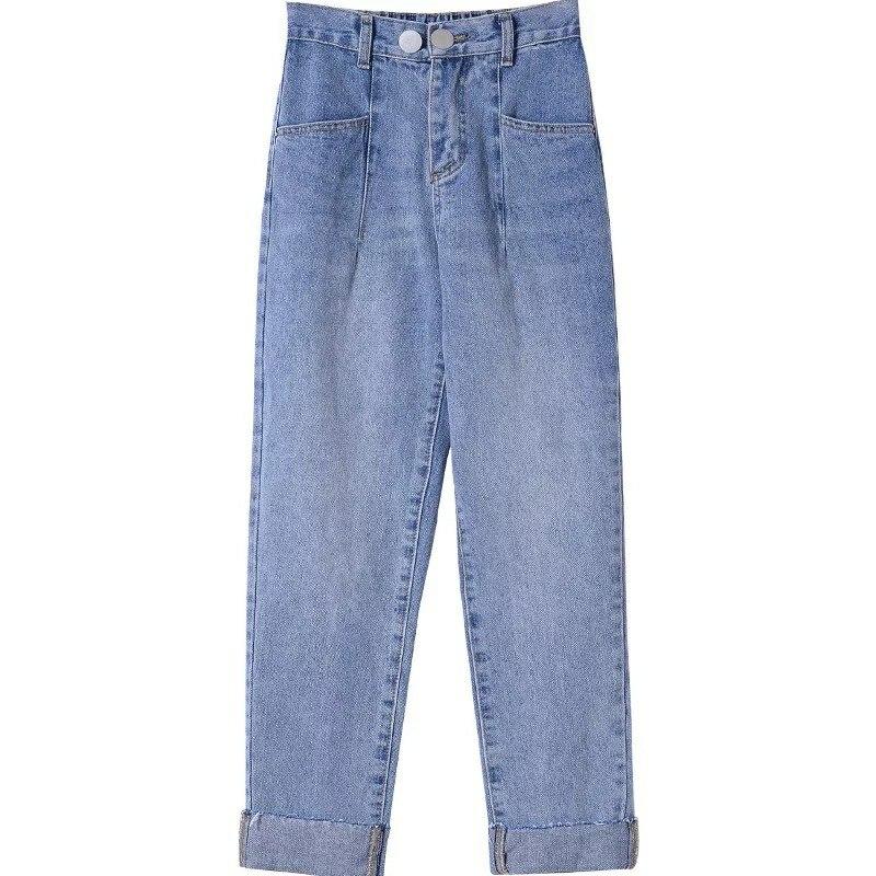 Women Slim Pencil Pants Vintage High Waist Jeans Full Length Pants photo review