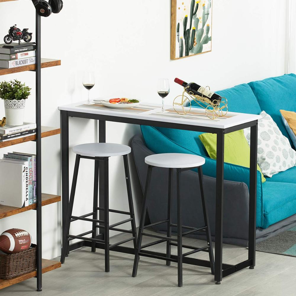 Counter Height Breakfast Bar Table Set With 2 Bar Stools For Kitchen White Living Room Small Space Itaar 3 Piece Pub Table Set Home Kitchen Furniture