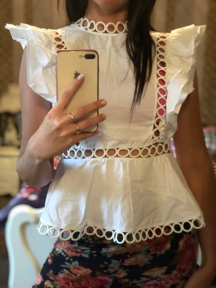 Sleeveless Shirt Female Ruffles Hollow Out Patchwork Tunic High Waist Blouse For Women Summer Fashion Ol Tops photo review