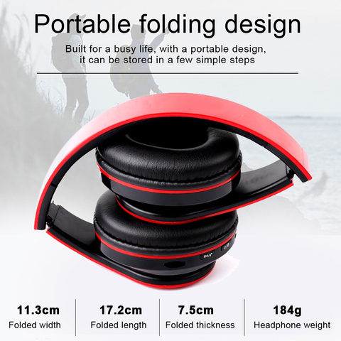 B39 LED Colorful Breathing Lights Portable Folding Built-in FM Wireless Bluetooth Headphones With MIC Support TF Card Mp3 Player Karachi