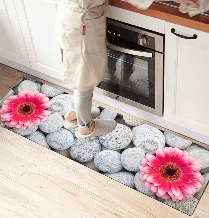 Else Gray Pebble Stones Pink Flowers 3d Print Non Slip Microfiber Kitchen Counter Modern Decorative Washable Area Rug Mat
