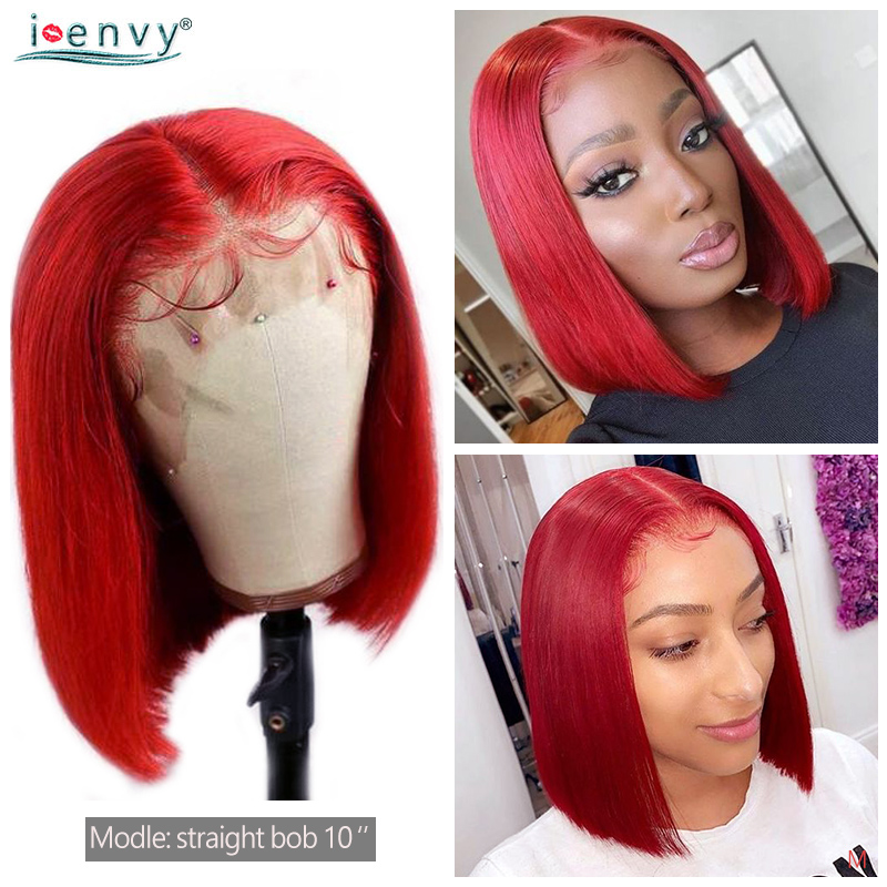 Red Short Bob Wigs Straight For Women 13X4 Lace Front Human Hair Wigs Pre Plucked 150% Peruvian Colored Red Lace Wig Non-remy