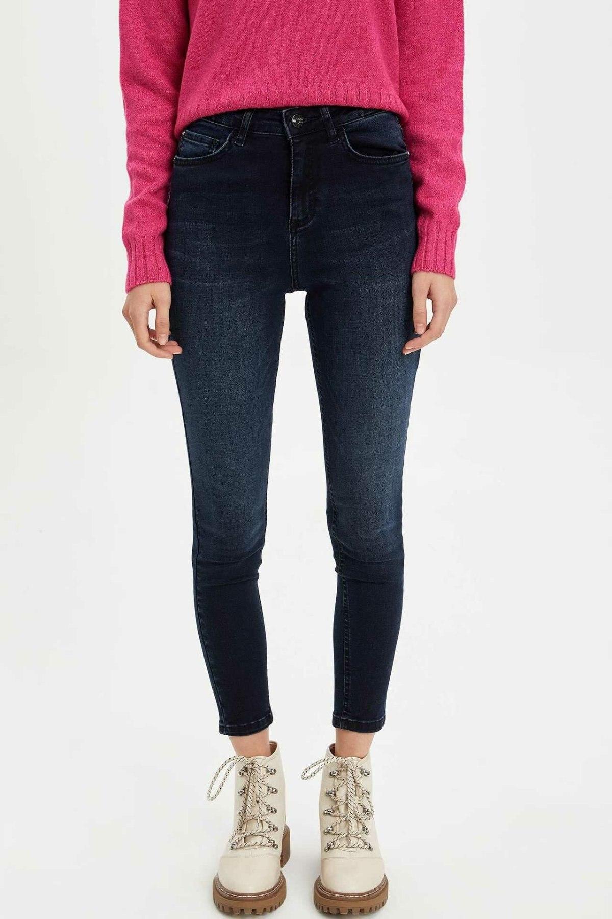 DeFacto Woman Autumn Slim Blue Denim Jeans Women Casual Mid-wasit Fit Skinny Jeans Lady Denim Bottom Trousers-L7137AZ19AU