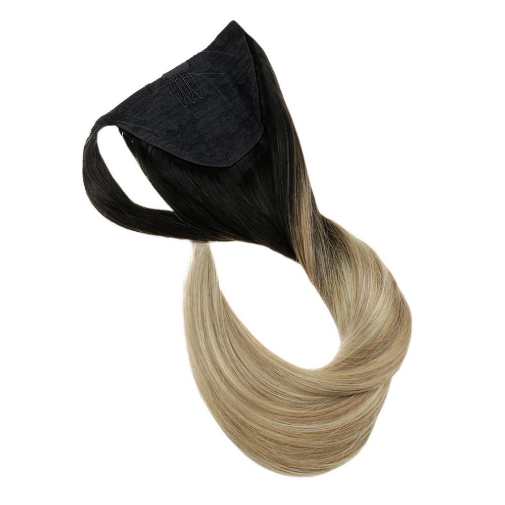 Full Shine Ponytail Extensions Clip In 80g/100g Machine Made Remy Wrap Around Ponytail For White Women Straight Hair Extension
