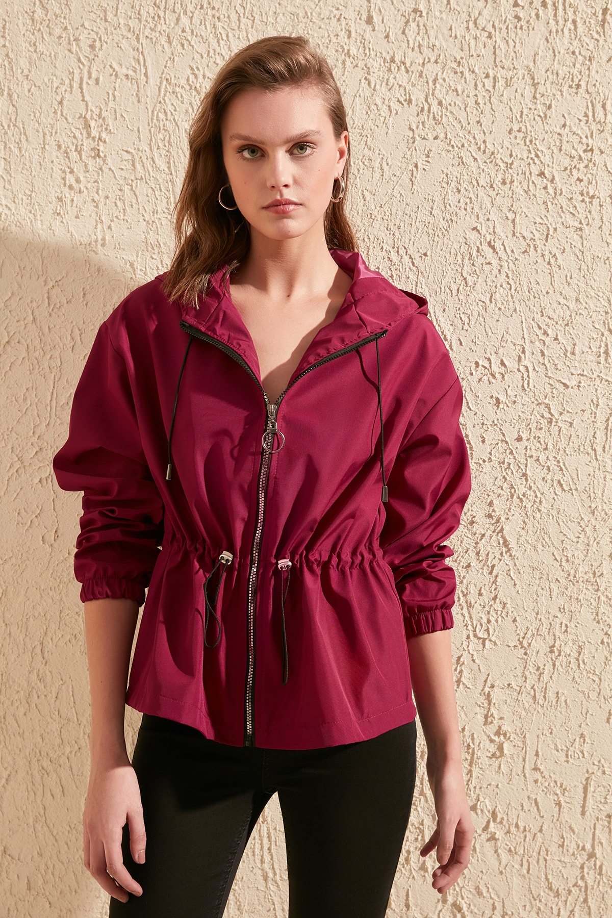 Trendyol Hooded Articulated Shirred Zipper It Should COVER Coats TWOSS20MO0031