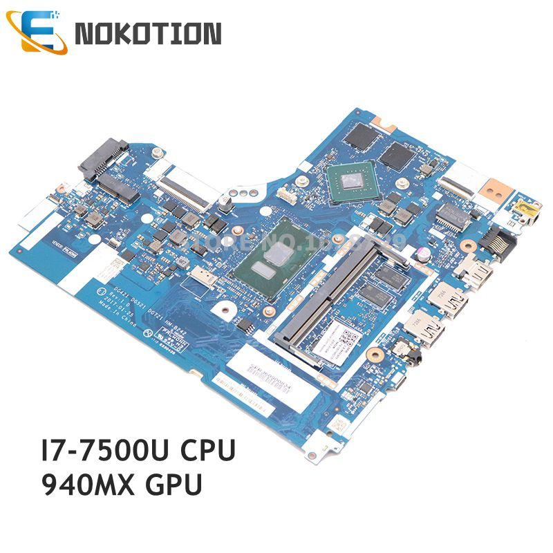 NOKOTION For Lenovo 520-15IKB 320-15ISK laptop motherboard DG421 DG521 DG721 NM-B242 5B20N86580 SR341 I7-7500U CPU <font><b>940MX</b></font> GPU image