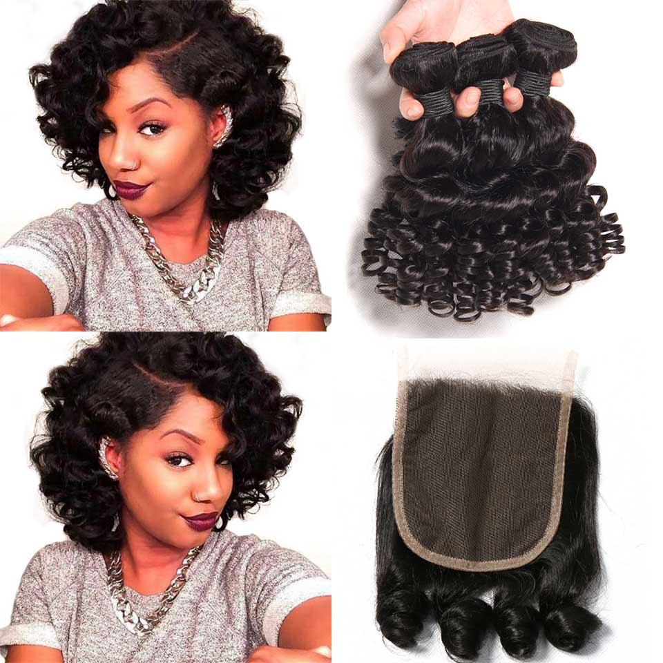 Bouncy Curly Weave Human Hair 3 Bundles Deals With Closure Funmi Brazilian Hair Weave Bundles With Closure  Non Remy Hair