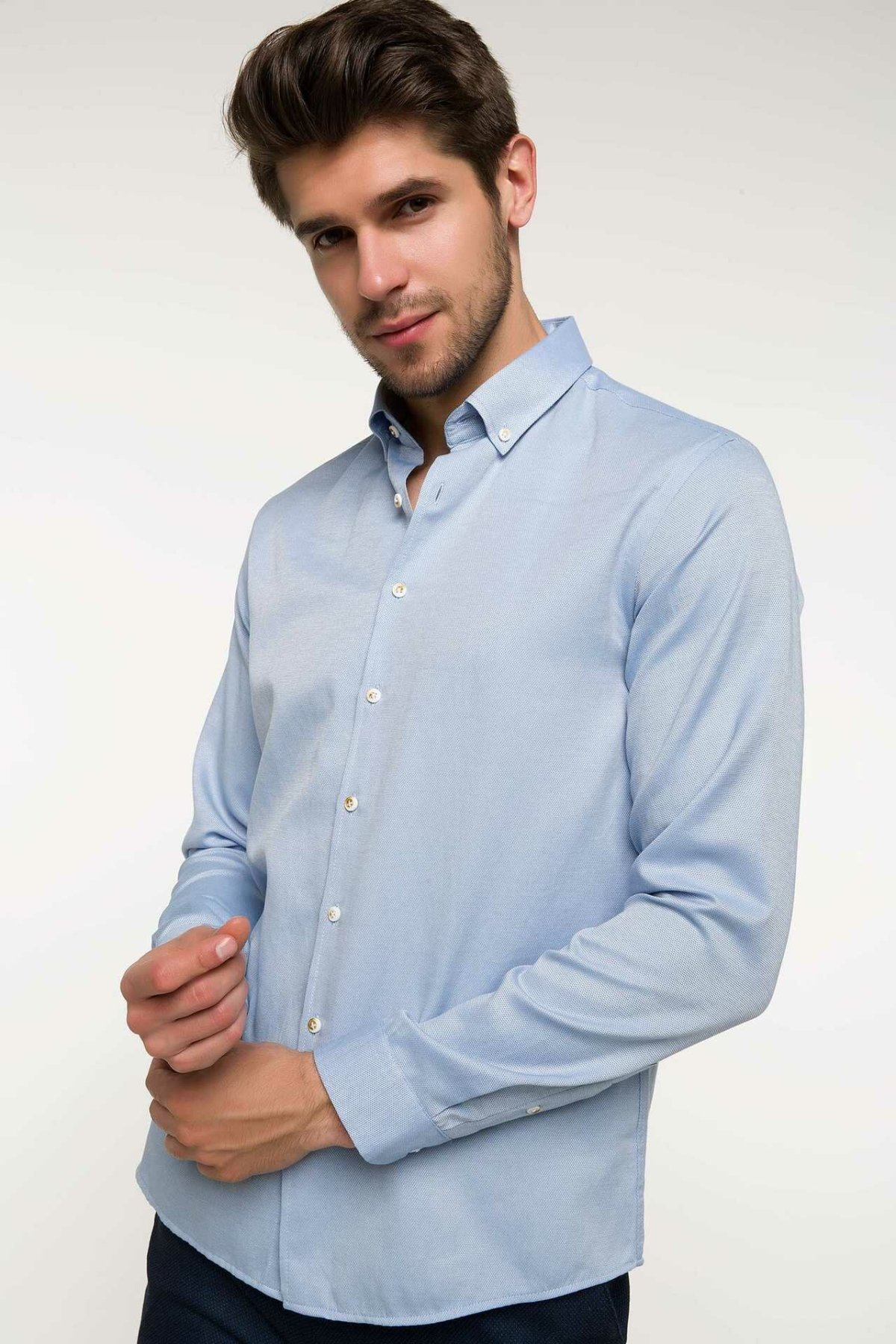 DeFacto Men Summer Smart Casual Shirts Men Light Blue Business Shirts Male Long Sleeve Top Shirt-G9238AZ18SM