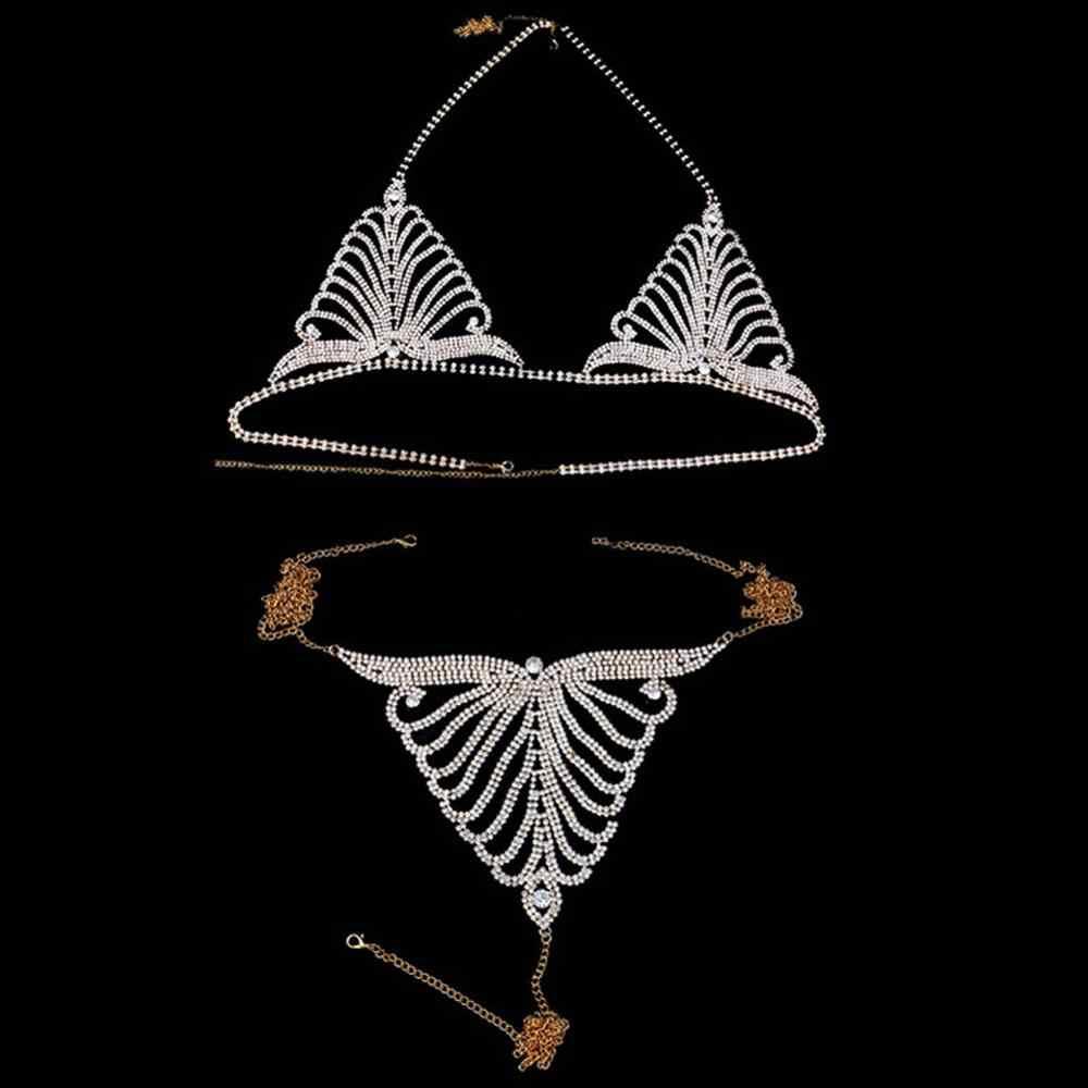 Stonefans el yapımı seksi takı kristal iç çamaşırı zinciri seti kadınlar için Bling taklidi vücut zinciri plaj Bikini iç çamaşırı takı