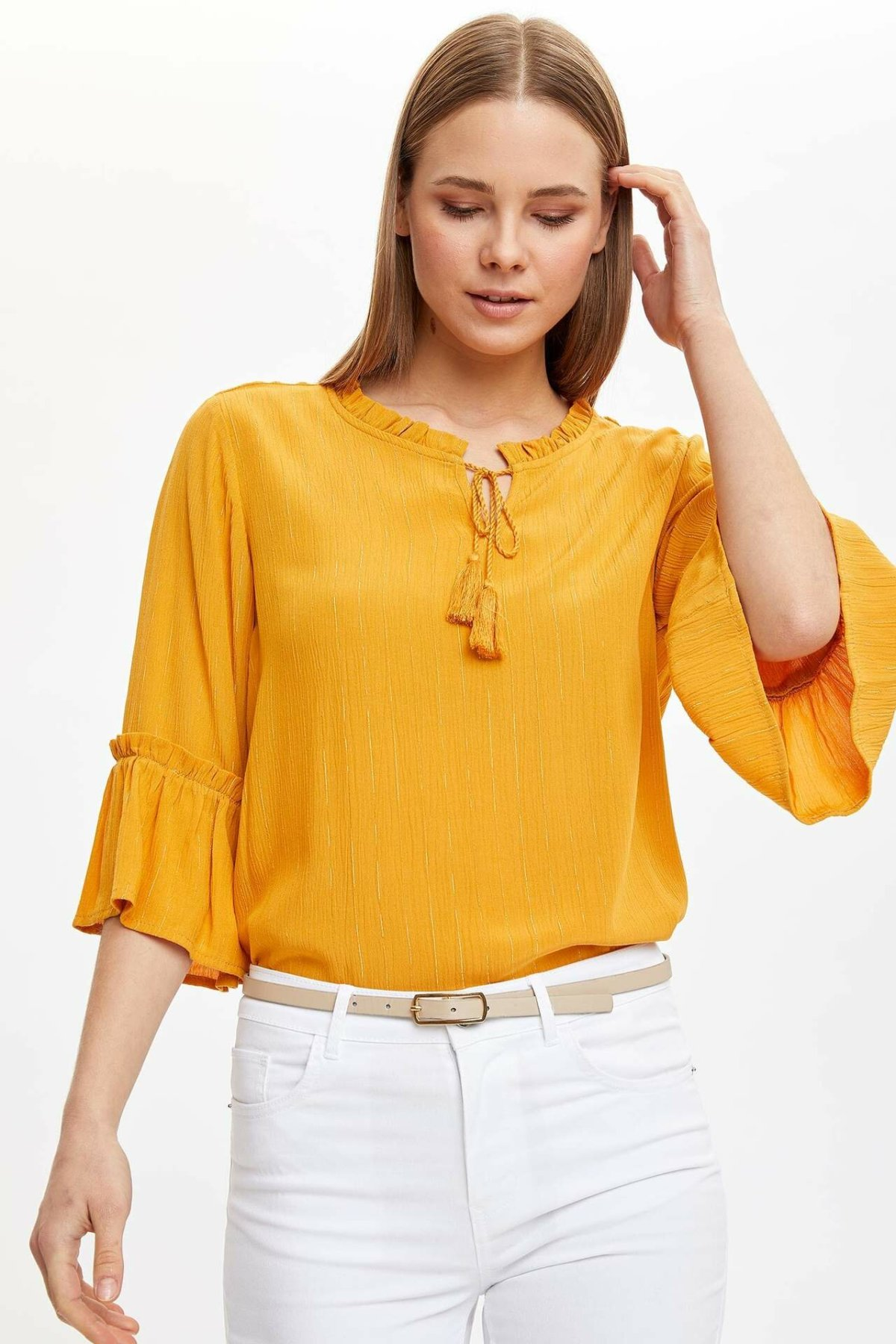 DeFacto Woman Spring Casual Yellow White Black Blouse Women Mid-sleeve Blouse Tops Lady Long Sleeve Blouse-I4753AZ20SP