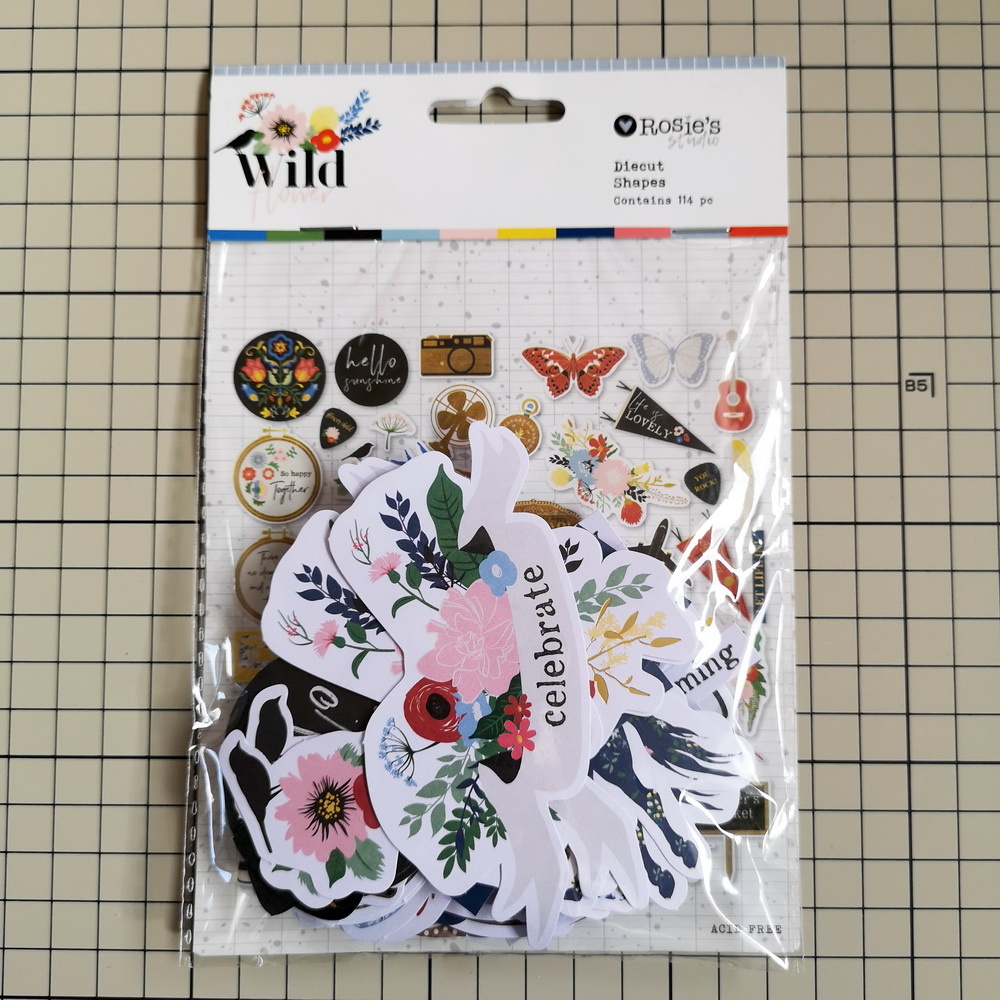 CRZCrafter 114pc Printed Paper Diecut Shapes Foil Design Scrapbooking Cardmaking Journal Embellishments
