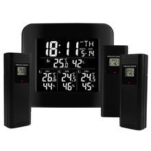 Digital Wireless Weather Station Indoor Outdoor Temperature & Humidity Hygrometer w/ 3 Sensors Alarm Clock Function LED Light