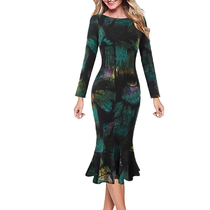 Vfemage Womens Elegante Vintage Lente Herfst Pinup Werk Office Business Casual Cocktail Party Ingericht Bodycon Mermaid Jurk 2787
