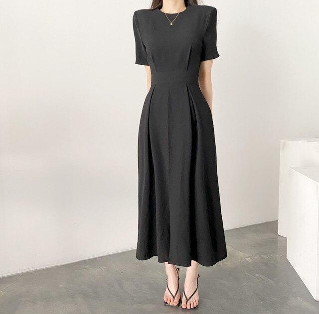 Women Elegant Vestidos 2021 Summer Korean Style Slim Elegant  Party Chic Casual Spilt Dresses 3