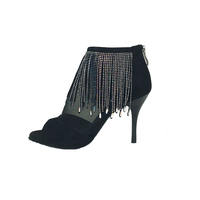 Suphini Black Microfiber Sexy 9cm Argentina Heel With Beading Crystal Tassels Open Toe Lace Up Bootie Party Tango Dance Boots