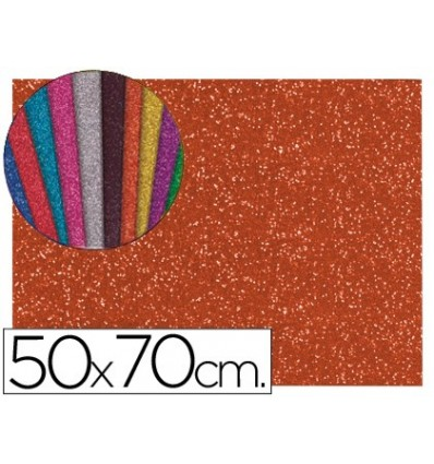 EVA RUBBER WITH GLITTER LIDERPAPEL 50X70CM 60G/M2 THICKNESS 2MM ORANGE 10 Units