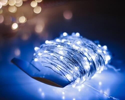 Fios de LED Guirlanda Adaptador Brancas