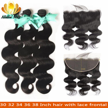 Aliafee 30 32 34 36 38 Inch Body Human Hair Bundles With 13x6 Frontal Peruvian Remy Hair Pre Plucked Lace Frontal With Bundles