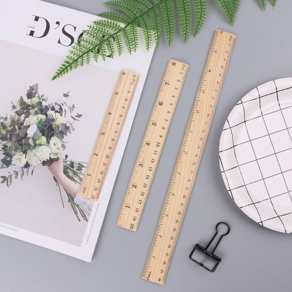 1 Pcs 15cm 20cm 30cm Wooden Ruler Double Sided Student Office School Measuring Tool