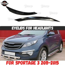Eyelids for headlights for Kia Sportage 3 2011 2015 ABS plastic pads cilia eyebrows covers trim accessories car styling tuning