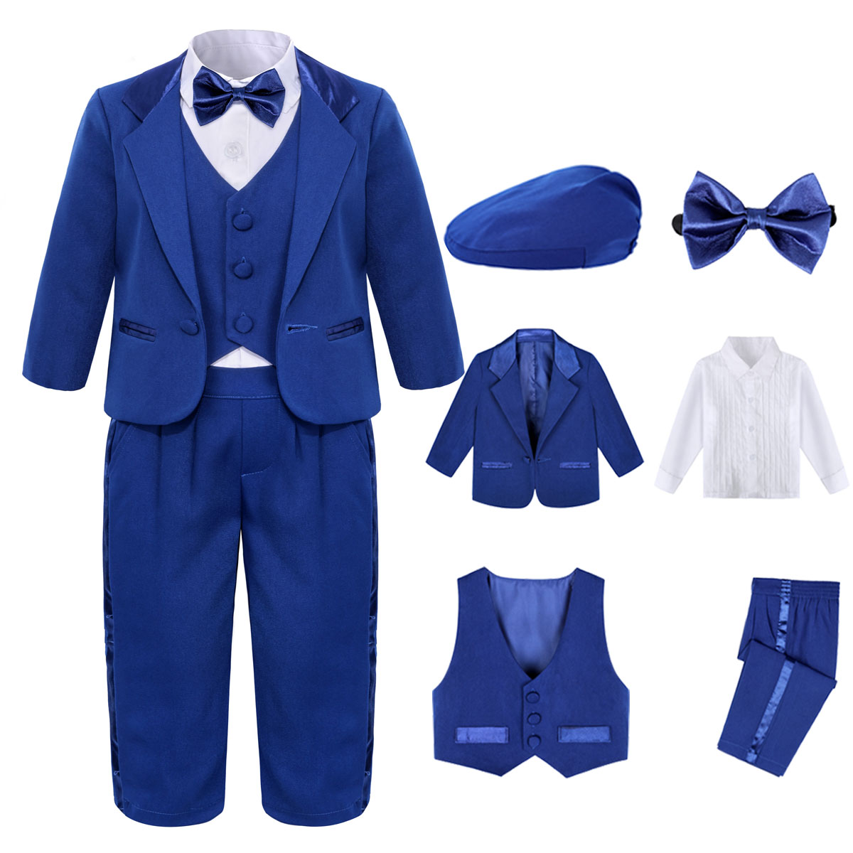 Baby Boy Wedding Suit Infant Formal First Birthday Tuxedo Toddler Photography Outfits Ceremony Blessing Party Costume 4pcs 1