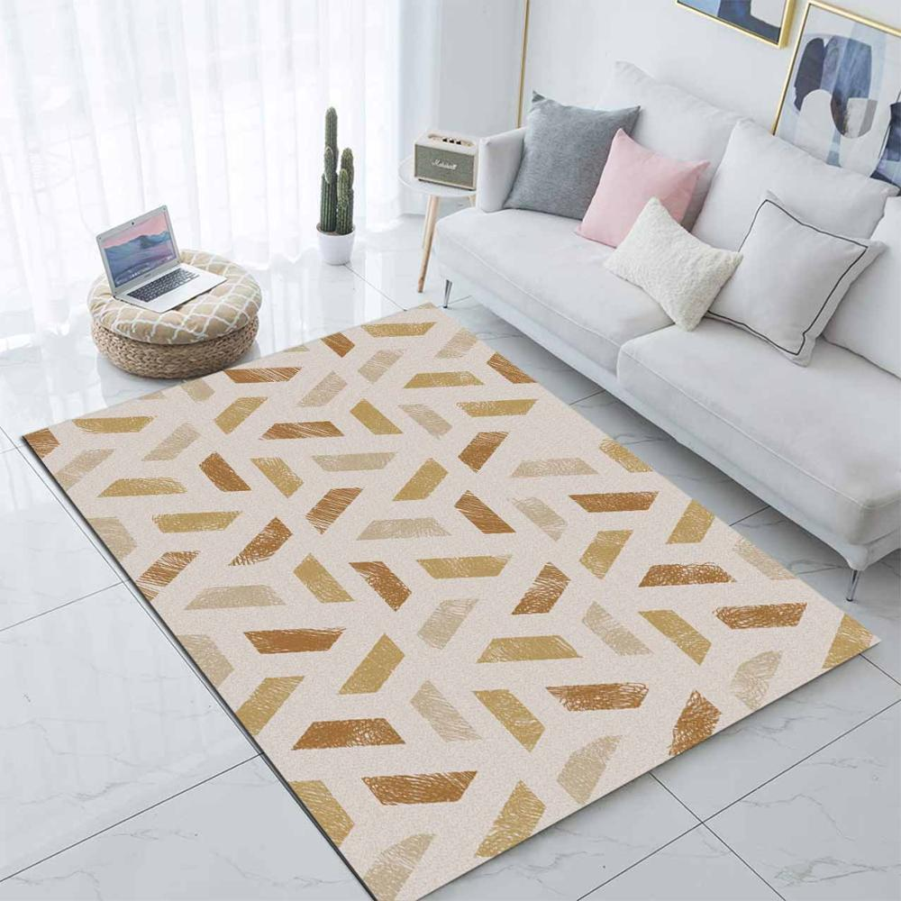 Else Brown Yellow Geometric Lines Nordec Design 3d Print Non Slip Microfiber Living Room Decorative Modern Washable Area Rug Mat