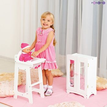Furniture Toys PAREMO  A set of doll furniture wardrobe + chair), White color for children toys for kids game furniture dolls doll houses furniture for bed for accessories doll for marie a