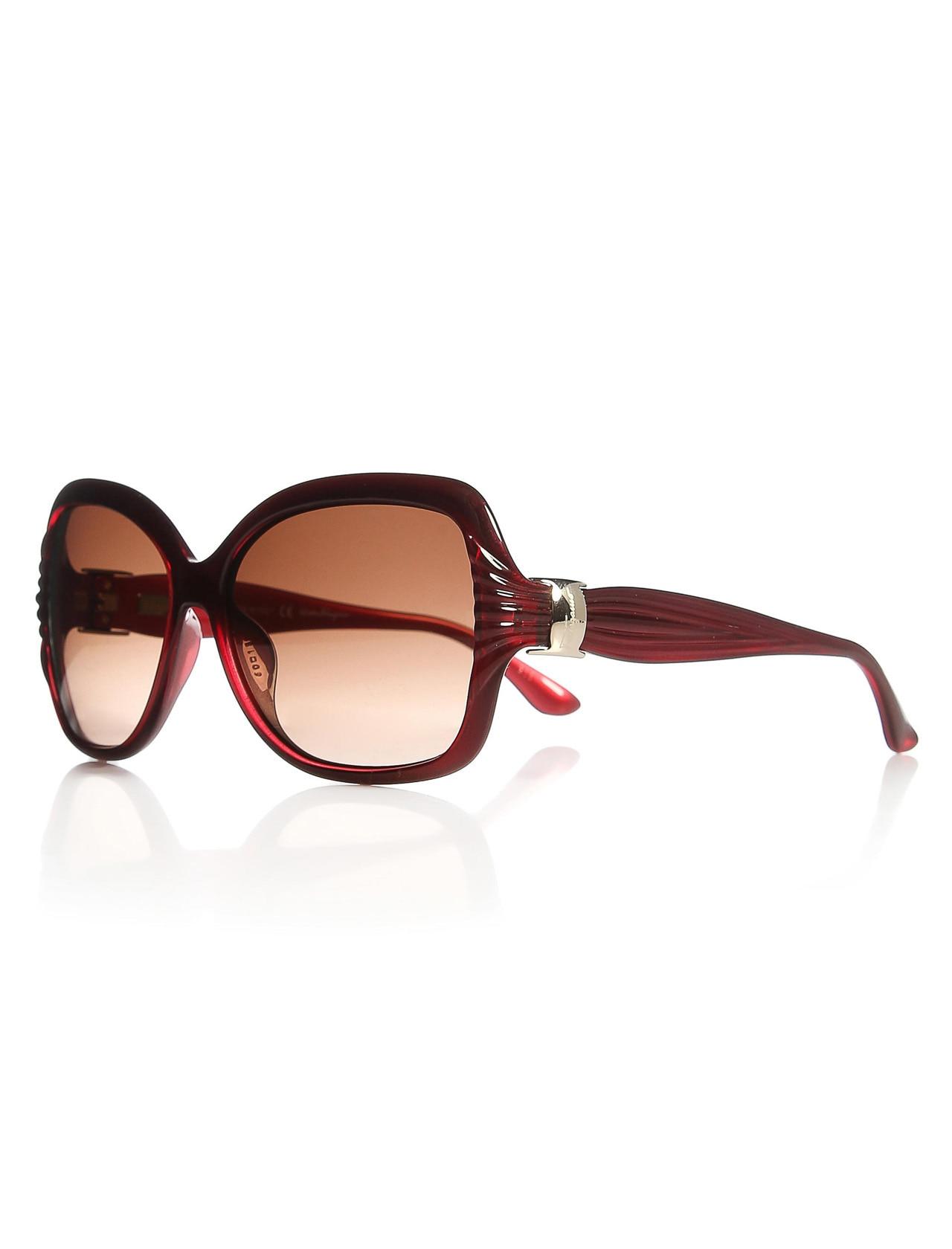 Women's sunglasses sf 649s 624 bone red organic square aval 59-18-135 salvatore ferragamo