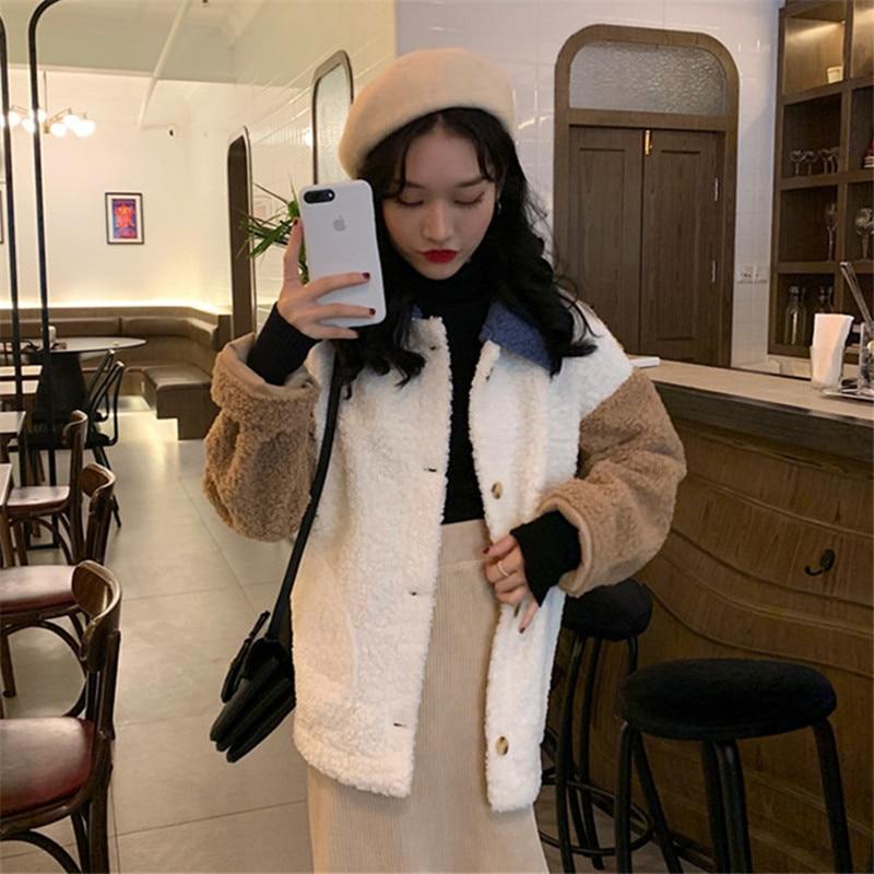 Moda womenautumn inverno branco casaco de pele
