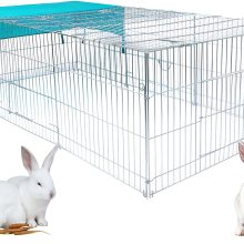 Cage for Rabbit Enclosure Hamster Squirrel Chicken Coop Small Animals Outdoor Hutch with Sun Protection Silver Pet House