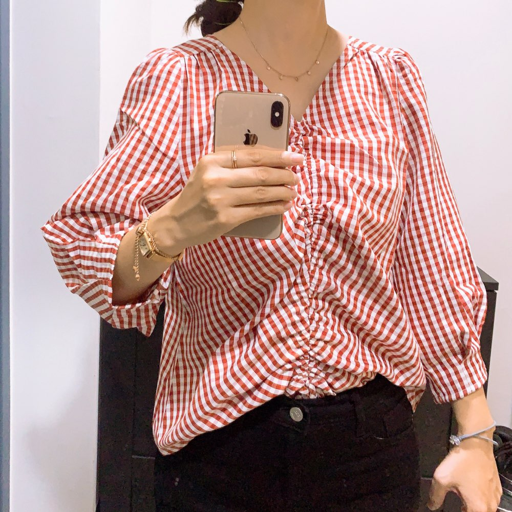 Women Shirts Spring Autumn Loose Female V Neck Plaid Casual Puff Sleeve Tops photo review