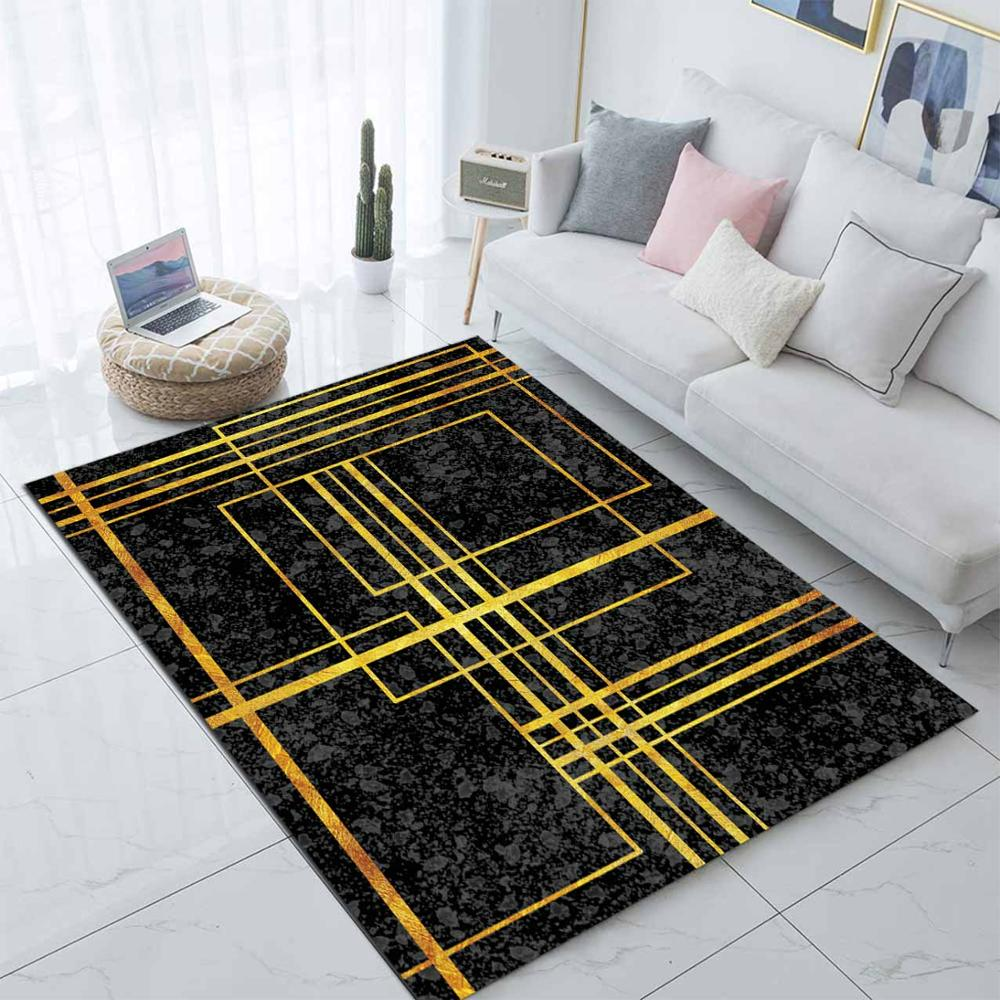 Else Black Golden Yellow Lines Nordec Scandinav 3d Print Non Slip Microfiber Living Room Decorative Modern Washable Area Rug Mat