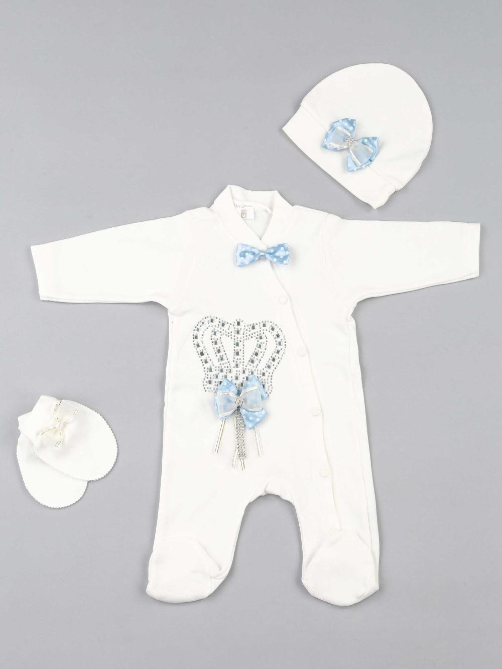 082-5181-015 Mavi Kral Taçlı Erkek Bebek 3 lü Tulum (1)