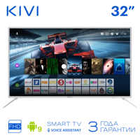 """TV 32 """"KIVI 32F700WR Full HD Smart TV Android 9 HDR stimme eingang Weiß"""