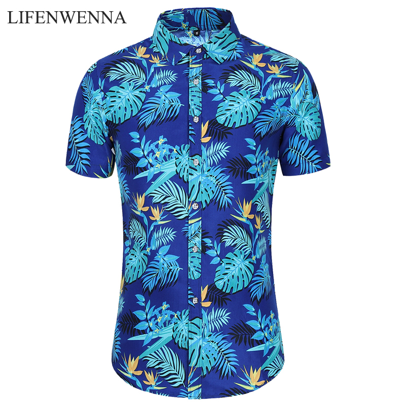 Plus Size 5XL 6XL 7XL Casual Shirt Men New Summer Men's Flower Shirts Fashion Floral Print Short Sleeve Beach Hawaiian Shirt Man