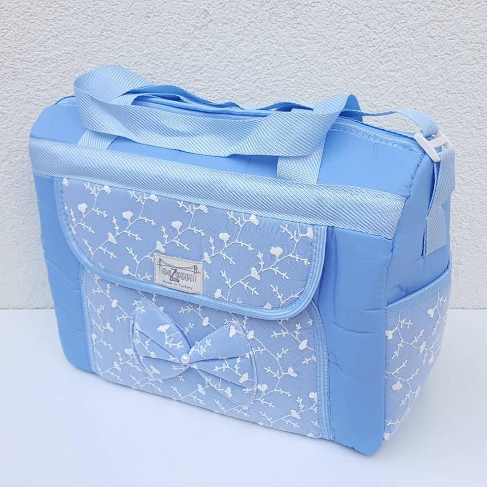 Ruched Blue Luxury Mother Baby Care Bag
