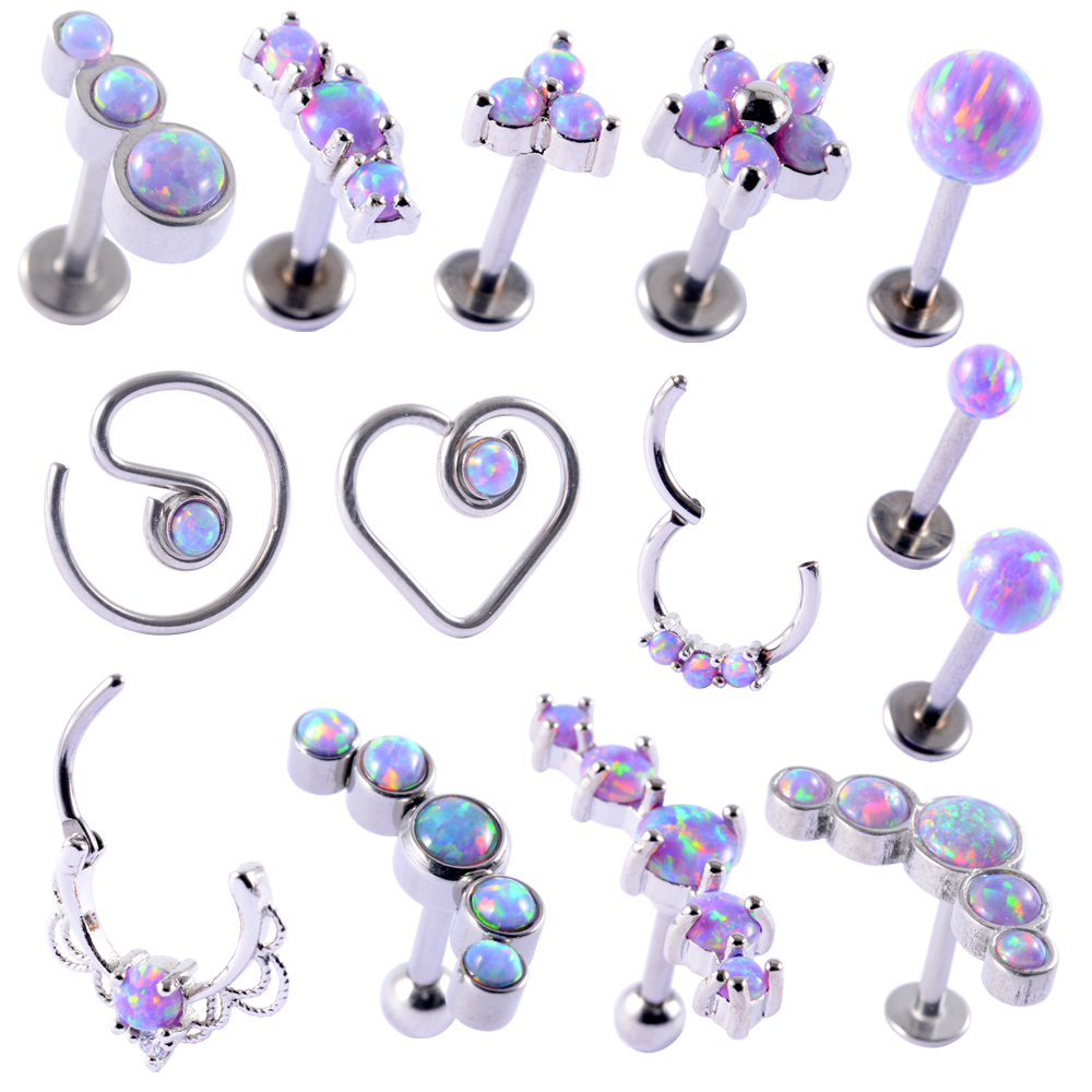 1PC Opal38 Cluster Ear Tragus Helix Cartilage Piercing Surgical Steel Opal Nose Ring Septum Clicker Daith Earring Labret Jewelry