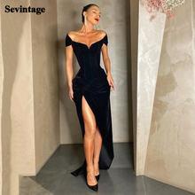 Черное вельветовое платье Русалка sevintage для выпускного вечера