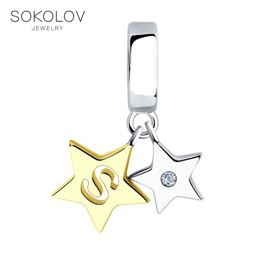 Pendant SOKOLOV Made Of Gilded Silver Fashion Jewelry 925 Women's/men's, Male/female
