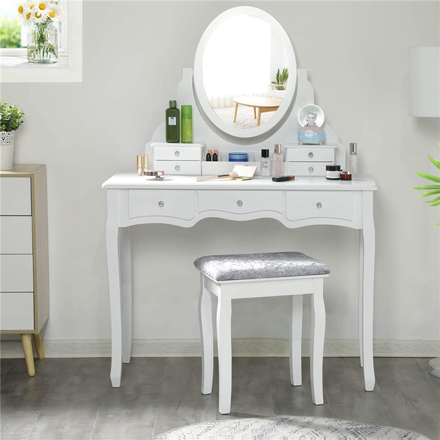 Dressing Table Set with 7 Drawers and 1 Movable Storage Box Wood Makeup Vanity Table Stool with 360° Rotating Oval Mirror White 6