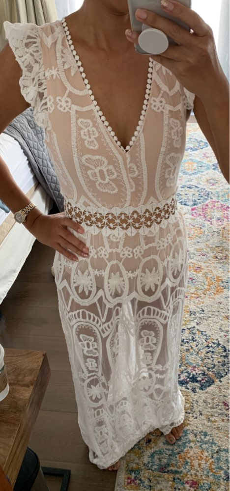 V Neck Lace White Elegant Maxi Long Dress Spring Summer Hollow Out Backless Vestidos Sexy High Waisted Women Chic Dresses photo review
