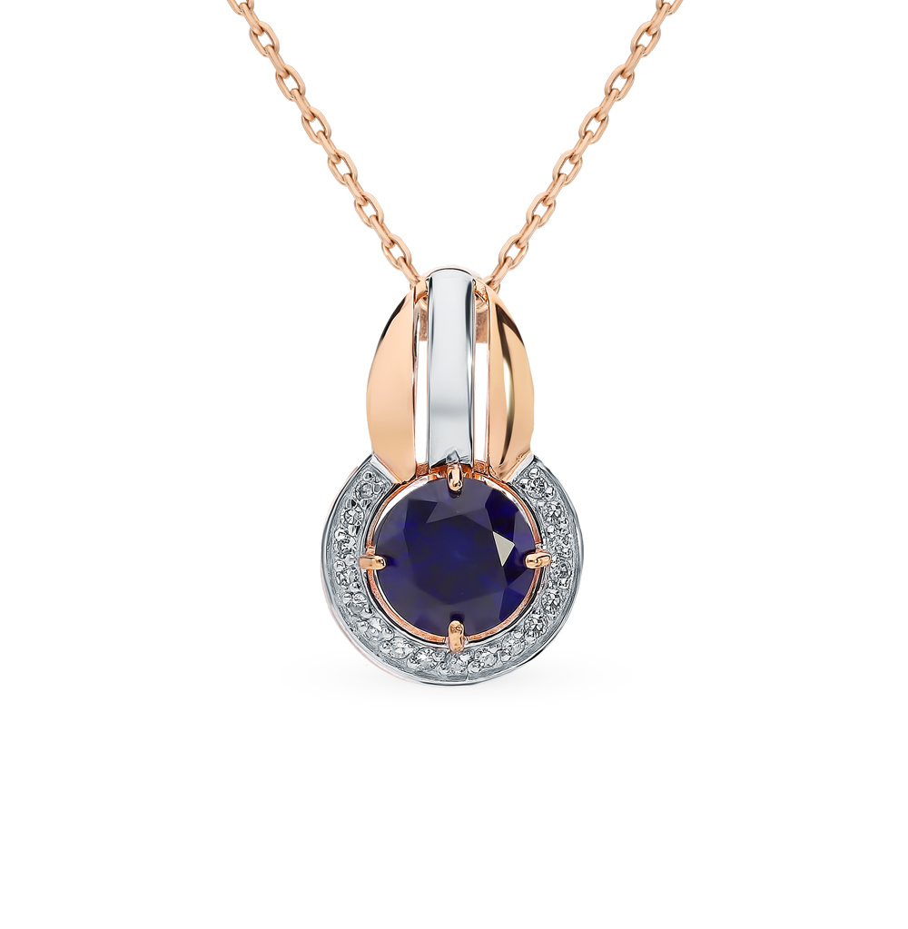 Gold Pendant With Sapphires And Diamonds Sunlight Sample 585
