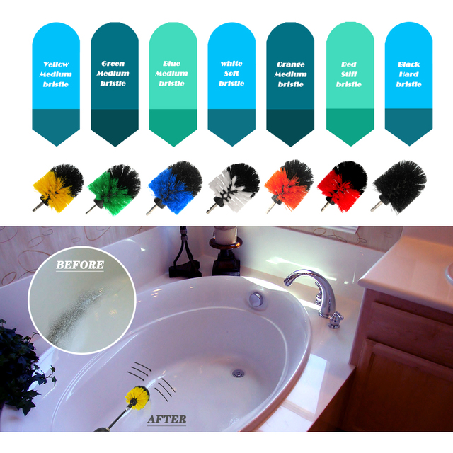4pcs/set Drill Power Scrub Clean Brush Electric Drill Brush Kit with Extension for Grout, Tiles,Bathroom, Kitchen & Auto