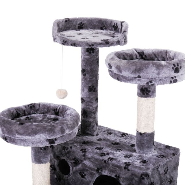 Pet Cat Tree Toy Condo Cat Climbing Tower Multi-layer With Hammock Cat House Furniture Scratching Solid Wood Post for Cat 5