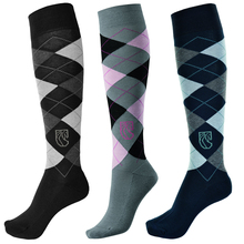 Pramoda 3 Pairs of  Cotton Knee Socks with Checked Pattern, Riding Knee Socks, Equestrian Socks for man and woman