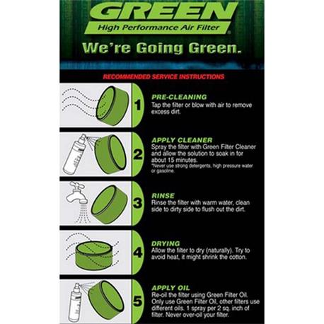 P960127 Green Filtro aire deportivo Toyota Rav 4 1,8L I Vvti 16V 125Cv 00 05 - 3